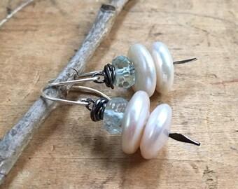 Pearl and sterlingearrings,10mm freshwater pearl, pearl drop earrings, white Pearl drops, wedding jewelry, simple Pearl earrings.