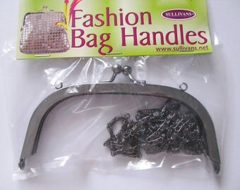 Metal Bag Frame with Chain Strap Handbag Evening Kiss Lock Clasp Clutch Shoulder Bag Purse Making glue in channel gunmetal