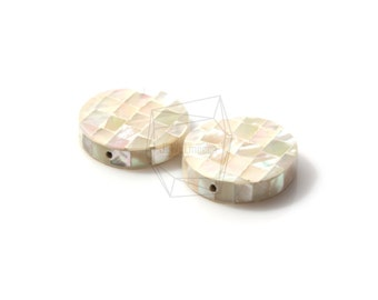 PEA-017-G/2PCS/ Mother of Pearl Mosaic round/20mm/Mother of Pearl beads