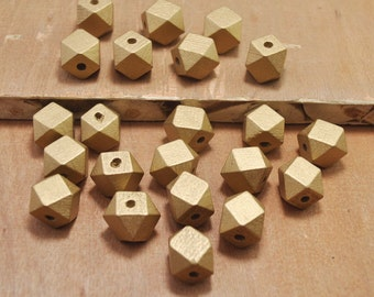 50pcs Gold Wood Beads,Polygonal 15mm Hand painted Beads, Make jewellery for selling,14 Hedron Geometric Natural Wood Beads.