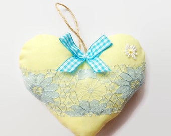 Shabby chic pastel yellow and blue hanging heart, perfect for vintage or country chic home decor, wedding favour