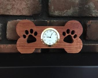 "Wooden Dog Bone with 2"" Clock - Desk/Tabletop Decoration"