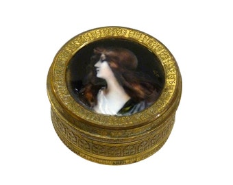 Small French Gilt Bronze Box With A Limoges Portrait Enamel