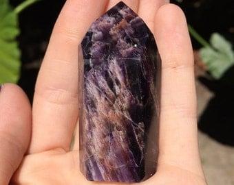 Polished Deep Purple Amethyst Quartz Point From Brazil Specimen 46.6g, Healing Stones, Metaphysical, Pagan, Wicca, Hippie