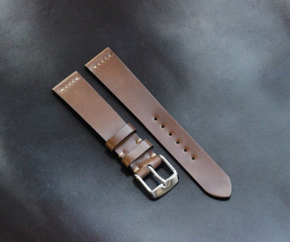18/16mm Bourbon Horween Shell Cordovan watch band - simple middle stitch