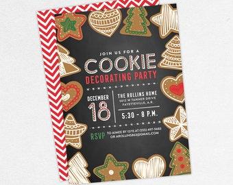 Cookie Decorating Party Invitations, Gingerbread Party Invitations, Cookie Exchange Invitations, Cookies and Cocoa Invitations, Xmas Invites
