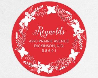 24 HOUR DIGTIAL FILE, Holiday Return Address Label, Christmas Return Address Label, Holiday Address Sticker, Wreath Return Address Label