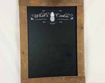 Whats Cookin Framed Chalkboard with Pineapple Motif