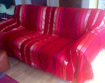 A Handmade 3m x 2m Moroccan red throw/bedspread