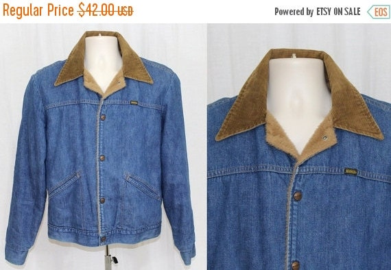 On Sale Vintage 70s Mens MAVERICK Denim Jean Faux Fur Lined Retro Trucker Jacket USA M