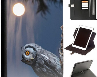 Owl and moon Apple ipad 360 swivel i pad leather case cover with card slots