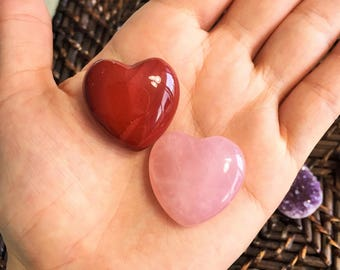 Increase your Sex Drive with Red Jasper and Rose Quartz Heart Set infused w/ Reiki