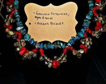 Turquoise and Coral Necklace with matching earrings