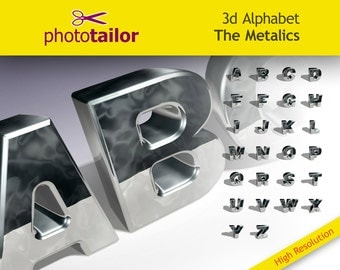 3d Silver Alphabet Clipart, High resolution, 26 Letters, background removed separated in layers Photoshop ideal for create DIY Custom words