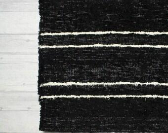 Blank and White Rug 65x230 cm. (2'2'x 7'6) Runner Rug, Hall runner, Rug Runner, Black rug, runners, Handwoven Cotton |Washable.