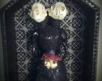 Momento Mori Siamese Twin Oddity Sculpture with REAL Skulls