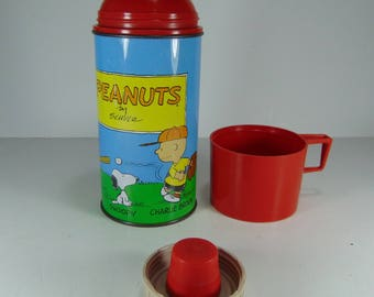 Vintage Metal Peanuts by Schulz Thermos, Baseball Theme, 1957