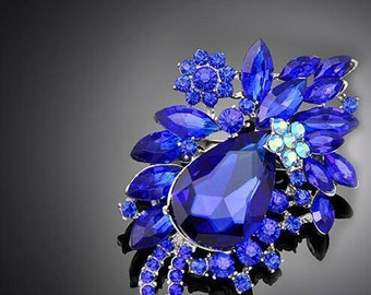 "3"" Royal Blue Austrian Crystal Flower Brooch"