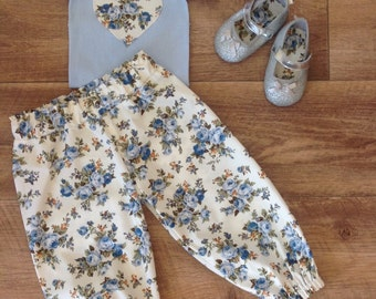 Baby Girl Pants, Harem Pants and Top, baby harems, handmade baby pants, Size 0 , Blue Floral, ready to ship