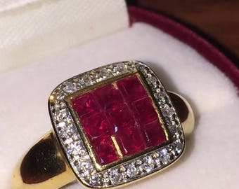 A Retro Ruby (1.20ct) & Diamond (0.50ct) ring. Paris circa 1950's.