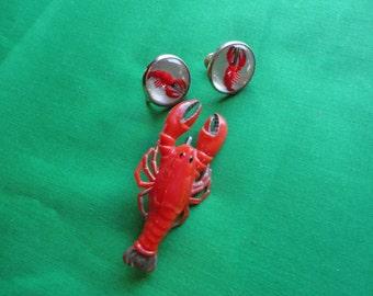 Vintage Lobster Brooch and Earrings