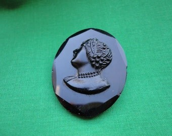 French Jet Mourning Brooch