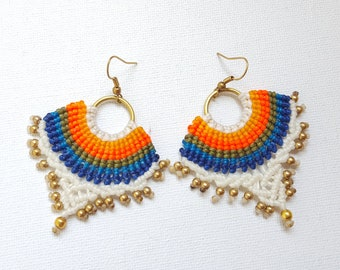 Macrame Earring, Thai Handmade Earring, Hippie Jewelry, Bohemian style,Colorful macrame earrings