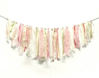 Pink, white and ivory fringed garland, ribbons and laces, Shabby Chic wedding garland, baby shower, birthday