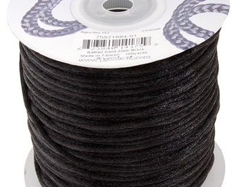 Black Satin 2 mm Rattail Cord - 100 yd - 300 Ft - Full Spool - Kumihimo Cording
