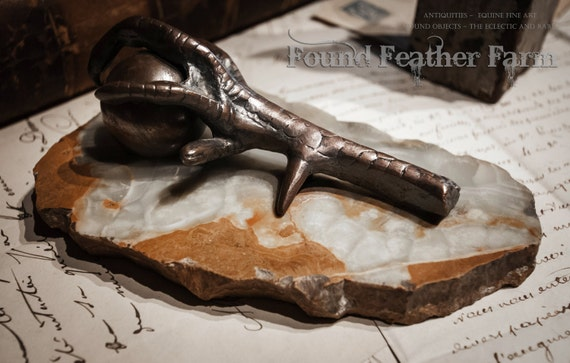 Antique 19th Century English Bronze Claw Holding a Copper Sphere on an Onyx Plinthe