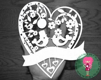 Wedding bird paper cut svg / dxf / eps / files, and pdf / png printable templates for hand cutting. Digital Download. Commercial use ok.