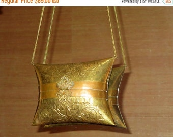 Football Days Sale Vintage Brass Floral Pattern Minaudiere Pillow Purse - VGC