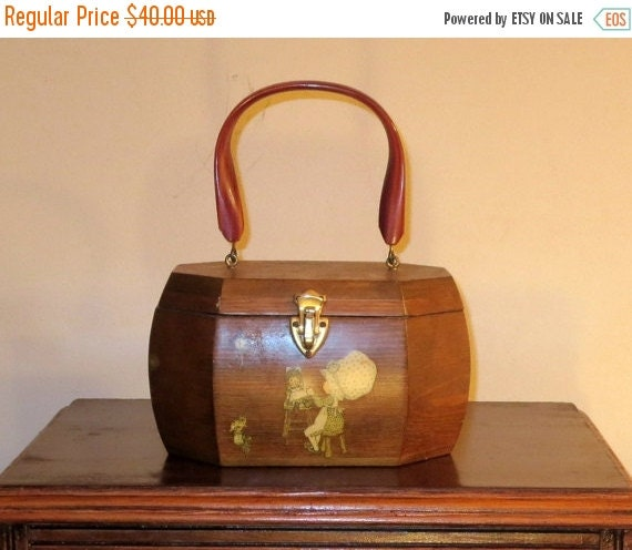 Football Days Sale Vintage Decoupage Wooden Box Purse With Amber Lucite (Plastic) Handle By Linda Briggs 1971- VGC