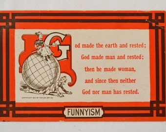 Funnyism Postcard From 1910, Antique Funny Postcard