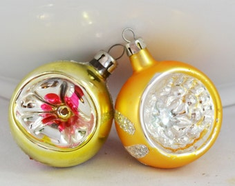 Vintage Glass Hand Blown Indent Christmas Ornaments, Gold And Silver Single Indent Ornament