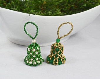 Vintage Handmade Bead Bell Christmas Ornaments Green Gold And White Ornaments