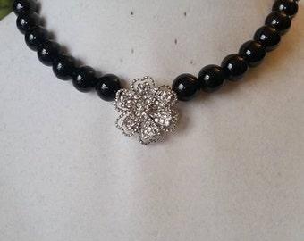Crystal Flower Necklace & Bracelet Set