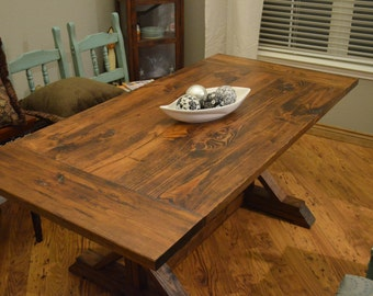 Rustic Farmhouse Trestle Table