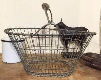 Vintage Rustic Potato Basket, Wirework Handled Basket. Kitchen Storage, Country Kitchen Decor