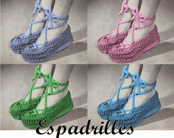 Crochet Espadrille Pattern PDF INSTANT DOWNLOAD Crochet Slippers Crochet Shoe Pattern Vintage Crochet Pattern Womens Shoes Vintage Shoes