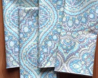 Gray, Blue, Yellow Everyday Cloth Napkins, Set of 9