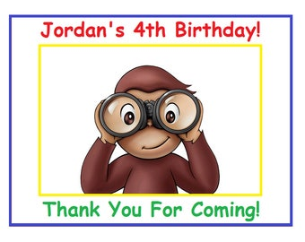"18 PERSONALIZED Curious George Party Bag Labels,  3 1/4"", Birthday Stickers, Goody Treat Bag labels Custom Made"