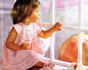 Crochet Pdf Vintage Pattern- Pink Lacy Dress and Shoes from 1980