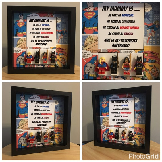DC Female Minifigure Frame, Mum, Gift, Geek, Box, Personalised, Dad, Idea, Birthday, Anniversary, For Him, Lego, Comic, Fathers Day,