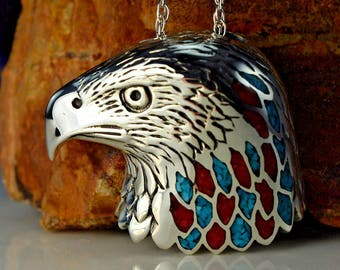 Sterling Silver Navajo Designed American Bald Eagle Head Pendant With Kingman Turquoise & Red Coral