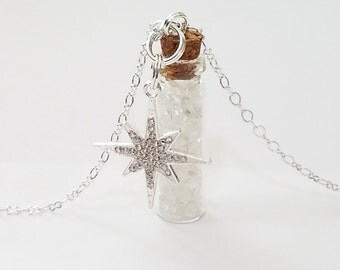 Crystal Bottle Vial Necklace: Quartz Crystal with Rhinestone Star Charm