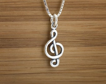 STERLING SILVER Music, Tiny Treble G Clef, Charm or Earrings - Chain Optional