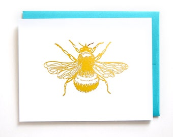 Bee Stationery Set of 6 Cards / Gold Foil Bee Note Cards / Thank You Cards / Cute Stationery Set / Thinking of You Card / Gift for Her