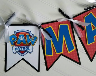 Paw patrol Banner, paw patrol birthday banner, Paw Patrol Party Supplies, Paw patrol party decorations, Paw Patrol party, Paw Patrol name