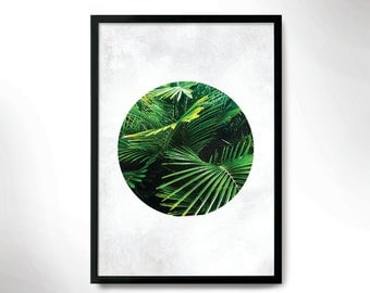 tropical mood poster, green botanical print, wall decor, green plant print
